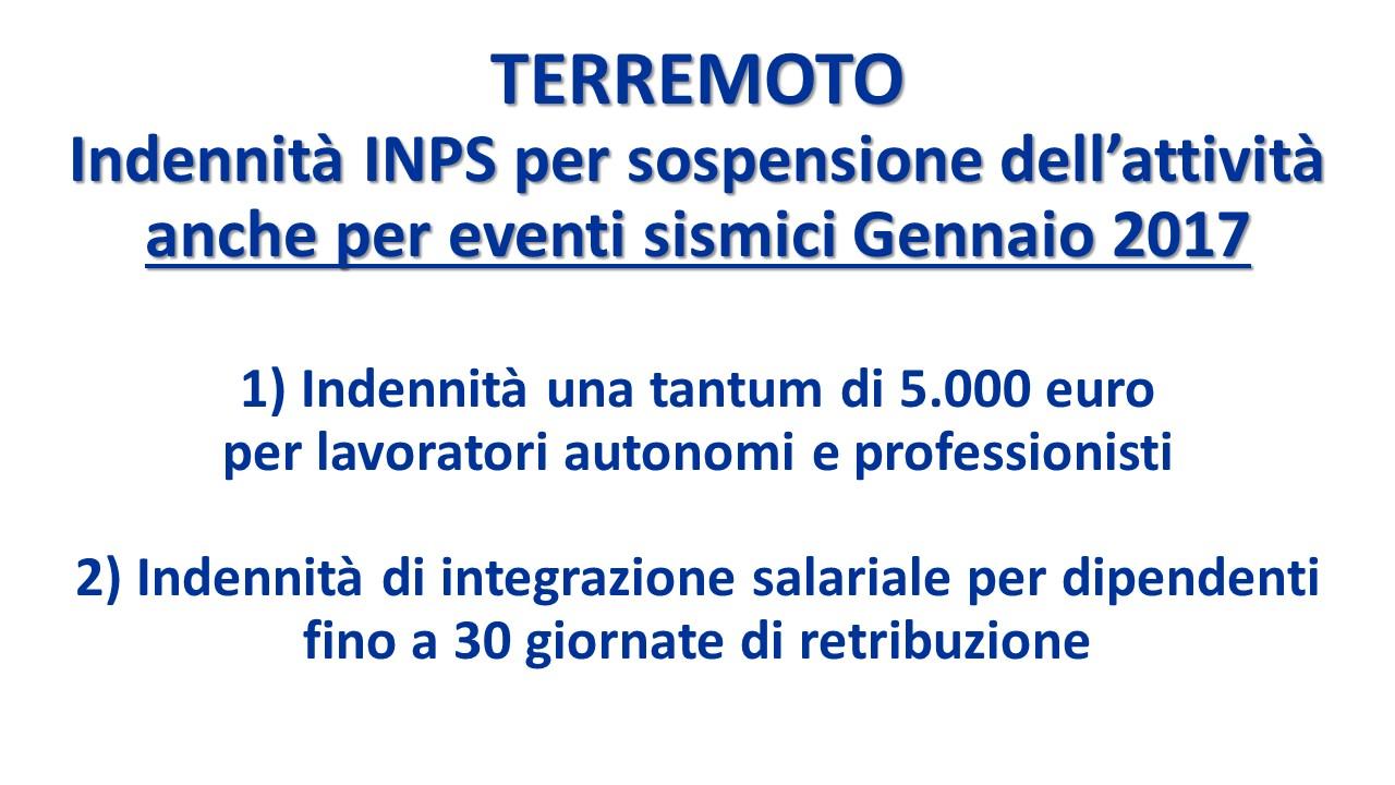 Terremoto indennit inps sospensione attivit lavorativa for Scadenzario fiscale 2017