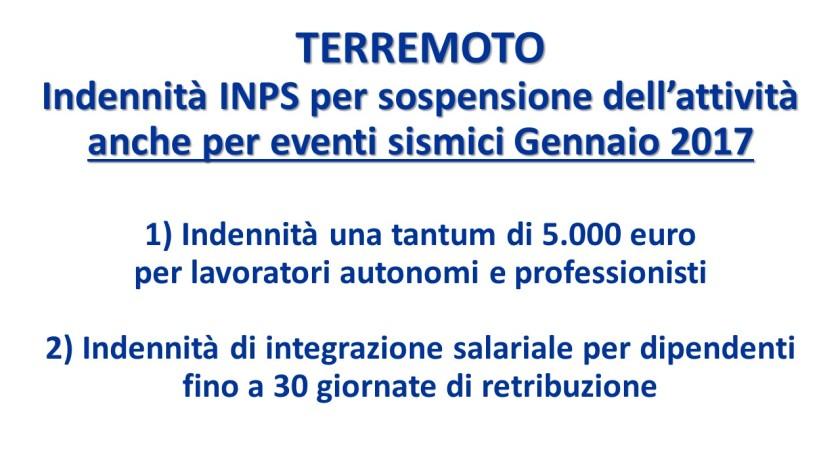 Terremoto indennit inps sospensione attivit lavorativa anche per il sisma di gennaio 2017 - Finestra pensione 2017 ...